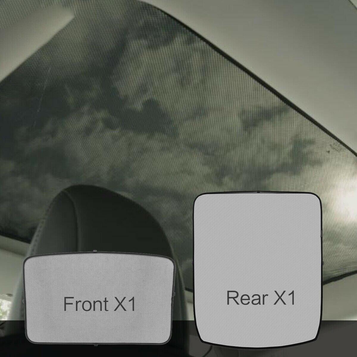 2 pièces Kit noir d'isolation thermique de filet d'ombrage de lucarne avant arrière pour Tesla modèle 3