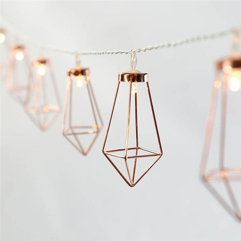 10LED Rose Gold Metal Diamond String Fairy Light Christmas Wedding Lamp New Year Decoration Warm White String Lights