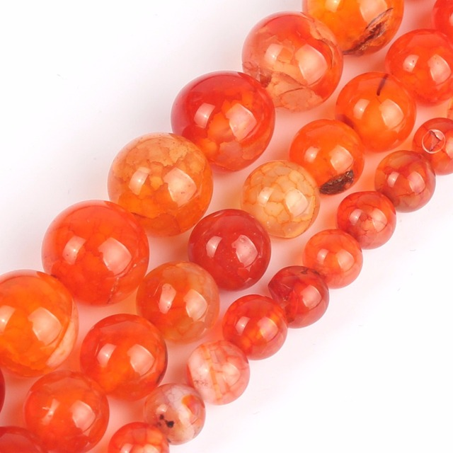 """Natural Stone Orange Red Dragon Vein Agates Round Loose Beads 15""""6/8/10mm Pick Size For Jewelry Making Diy Bracelet Necklace"""