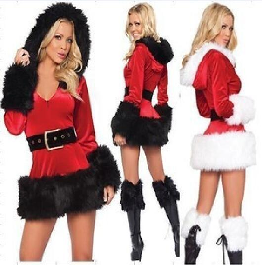 Sexy Lingerie Hooded Christmas Uniform Cosplay Warm Dress Sets Women Underwear 2017 Hot Babydoll Costumes