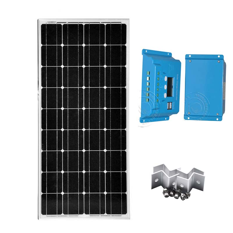 100W 12V Monocrystalline Solar Panel Kits Solar Charge Controller 10A 12V/24V Z Bracket Mounts Home Solar Power System Motorhome solarparts 100w diy rv marine kits solar system 1x100w flexible solar panel 12v 1x 10a 12v solar controller set cables cheap