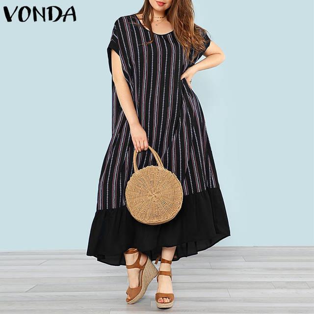 ca2a5501a0fea VONDA Women Pregnancy Striped Maxi Long Dress 2019 Summer Casual Loose  Maternity Clothes Short Sleeve Ruffles Plus Size Vestidos