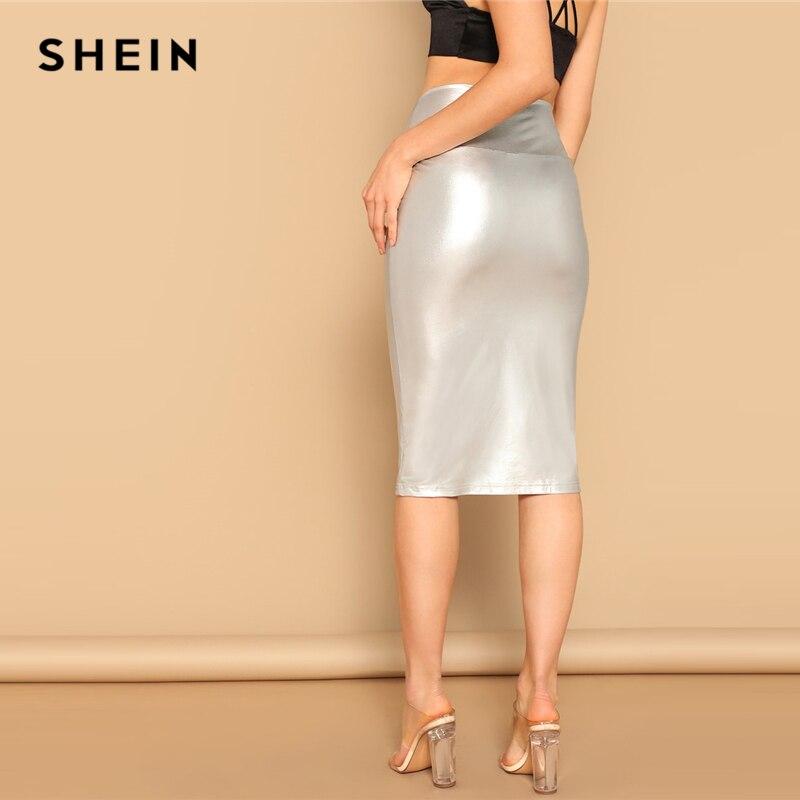 SHEIN Glamorous Silver Wide Waist Metallic Bodycon Skirt Summer Elegant Office Lady High Waist Pencil Solid Bodycon Long Skirt 2