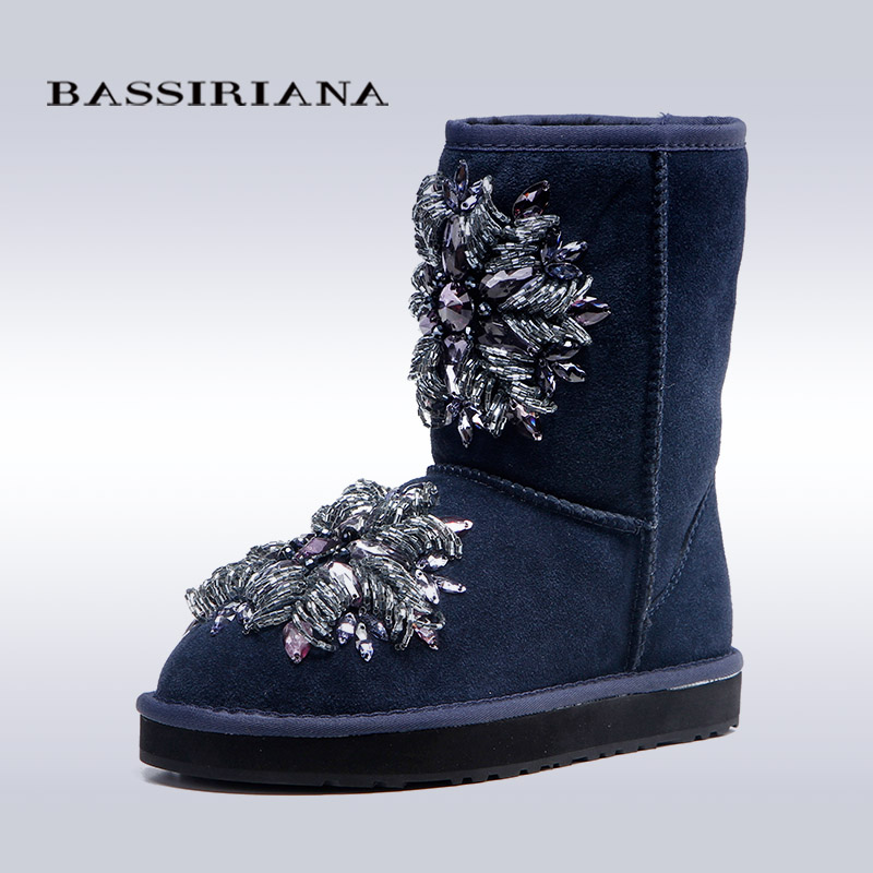 BASSIRIANA women s fashion blue sheepskin snow boots with crystal decoration Free shipping
