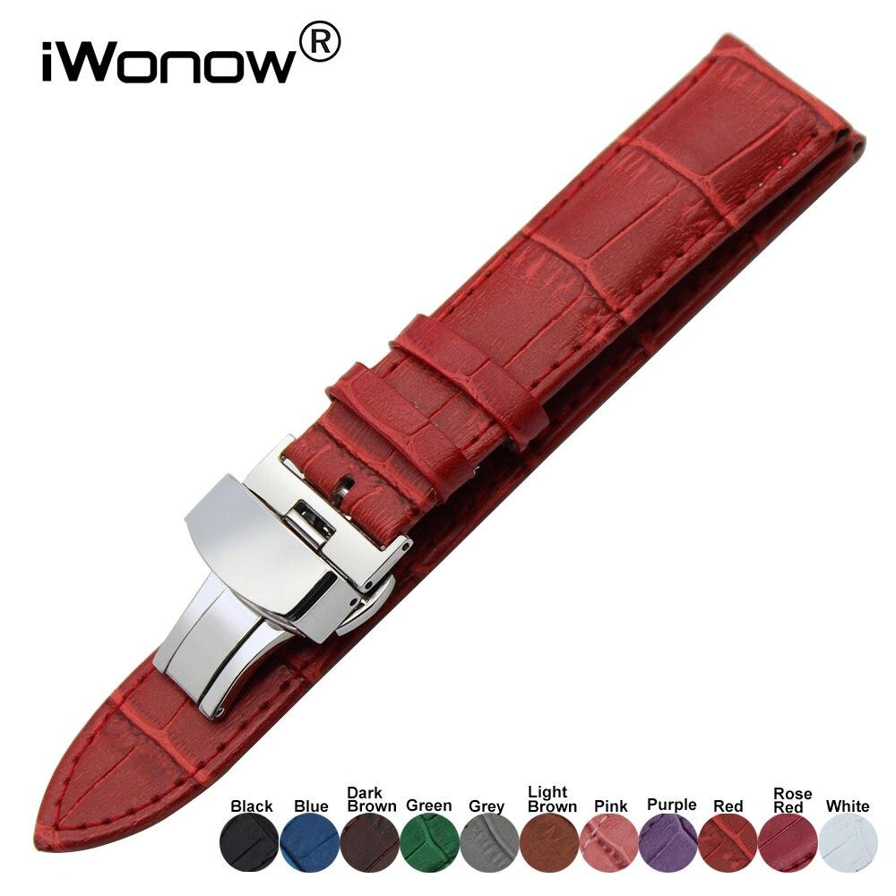 Pulseira de couro genuíno para dw ck timex armani certina pulseira de relógio de aço cinta fecho pulseira de pulso 18 19 20 21 22 23 24mm