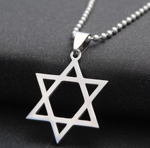 Fashion Jewish Star of David Pendant Necklace 50 cm Stainless Steel Silver Hollow Star Necklace For Men Women Wholesale Jewelry(China)