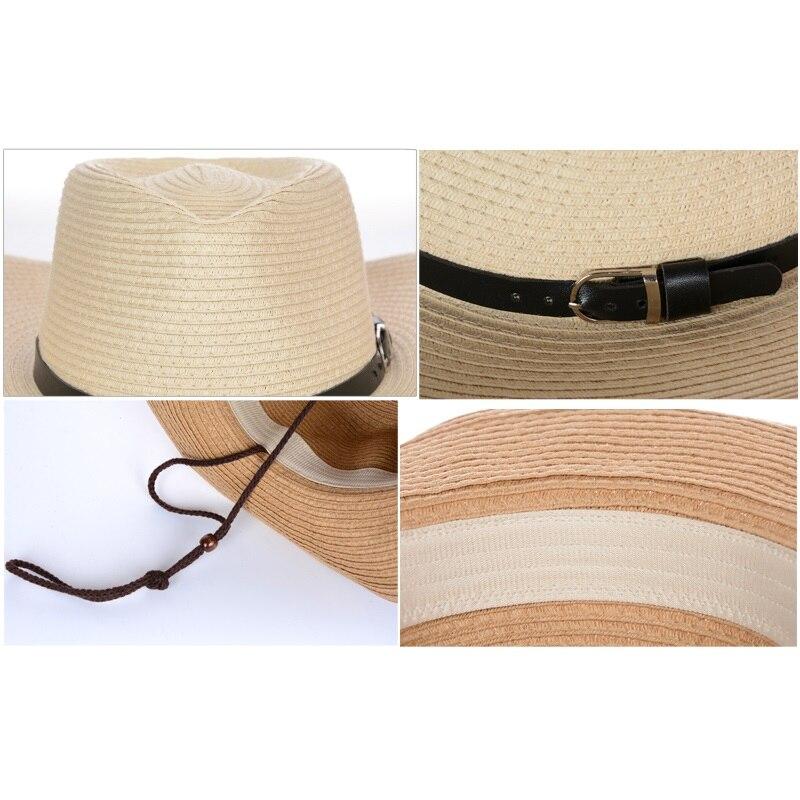 a8abbc2e3b90e New Male Fedora Straw Hat UV Protection Summer Sun Hats Man s Handmade  Raffia Straw Trilby Cap Beach Holiday Travel Hat B-8049