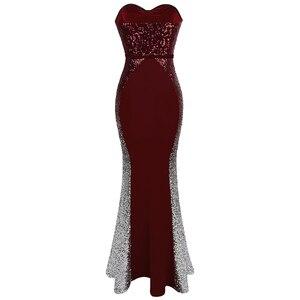 Image 2 - Angel fashions Abiti da ballo Sweetheart Gradiente di Paillette Arco di Colore di Contrasto Fiocchi e Fasce Splicing del Vestito Vino Rosso 384