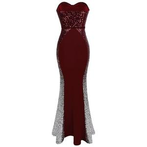 Image 2 - Angel fashions Prom Dresses Sweetheart Gradiënt Sequin Contrast Kleur Bow Sjerpen Splicing Jurk Wijn Rood 384