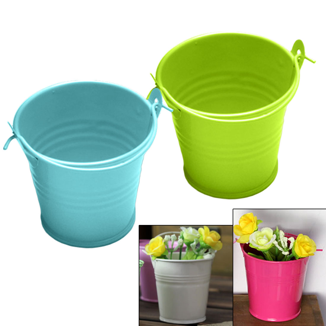 Mini Flower Metal Hanging Pots Garden Balcony Succulent Plant Flowerpot Home Office Decor Iron Bucket With Handle
