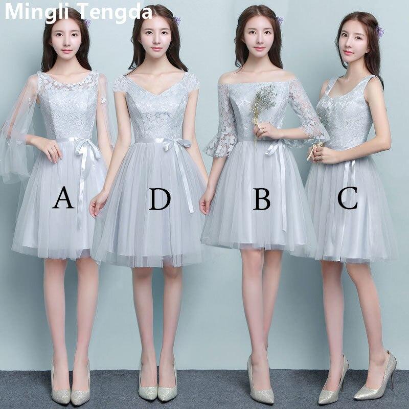 Mingli Tengda 2018 New Elegant Lace   Bridesmaid     Dresses   V Neck Simple Short   Dress   for Wedding Party robe demoiselle d'honneur