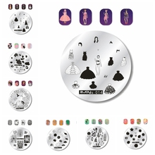 NEW ZJOYs 001-016 Nail Stamping Plate 5.6cm Round Image Templates Flower Art Transfer 1pc