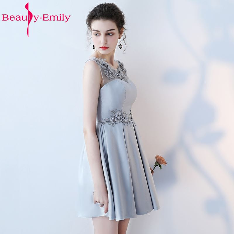 Beauty Emily New Elegant Short Grey Evening Dresses 2019 Sleeveless V Neck A line Formal Party Prom Dress in Evening Dresses from Weddings Events