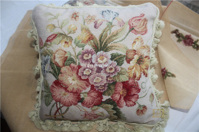 Free Shipping 15k 16 X16 Needlepoint Pillow Handknotted Woolen Cushion With Fl Designs No Insertion