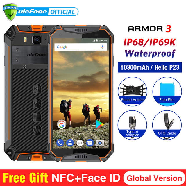 """Ulefone Броня 3 водонепроницаемый мобильный телефон с IP68 Android 8,1 5,7 """"FHD + 8-ядерный helio P23 4 ГБ 64 ГБ NFC Глобальный Версия смартфона"""