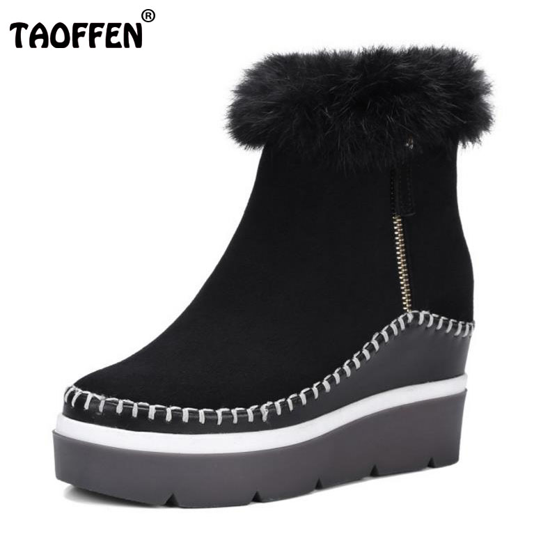 TAOFFEN Warm Winter Snow Shoes Women Real Leather Height Increasing Warm Boots Women Thick Platform Wedges Fur Botas Size 34-39 rizabina cold winter snow shoes women real leather warm fur inside ankle boots women thick platform warm winter botas size 34 39