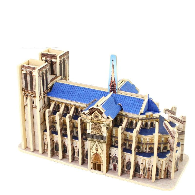 3d quebra-cabeças de madeira cúbica quebra-cabeça de madeira blocos de construção do mundo crianças brinquedos educativos presente notre dame de paris