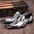 Estampado de leopardo Para Hombre de Diseño de Moda Los Zapatos de Cuero Genuino Ascensor Zapatos de La Boda para Los Hombres de Negocios Oxfords Pisos Chaussure Homme