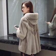 long real mink fur coat denmark for women high quality luxury femme wholesale skin one piece genione mink fur jacket with hoody