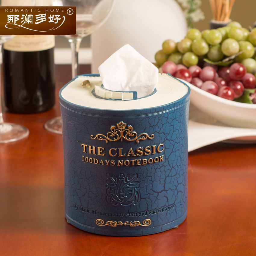 Creative European fashion wipes box cute vintage books molding resin tissue boxs carton paper napkin holder towel tube