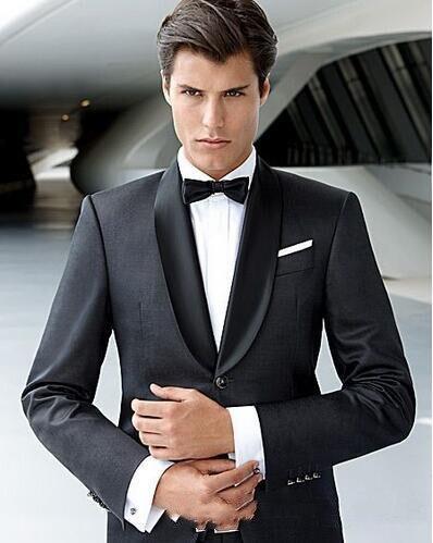 Cool Black Groomsmen Shawl Lapel Groom Tuxedos Mens Wedding Suit Man Jacket Blazer 2 Piece Suit(Jacket+Pants+Tie)costume Homme