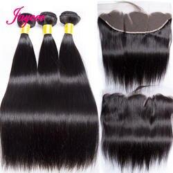Прямые пучки волос с фронтальным 3 Связки с фронтальным с пучками малазийские пучки волос с фронтальным ухом к уху 4 шт. Remy
