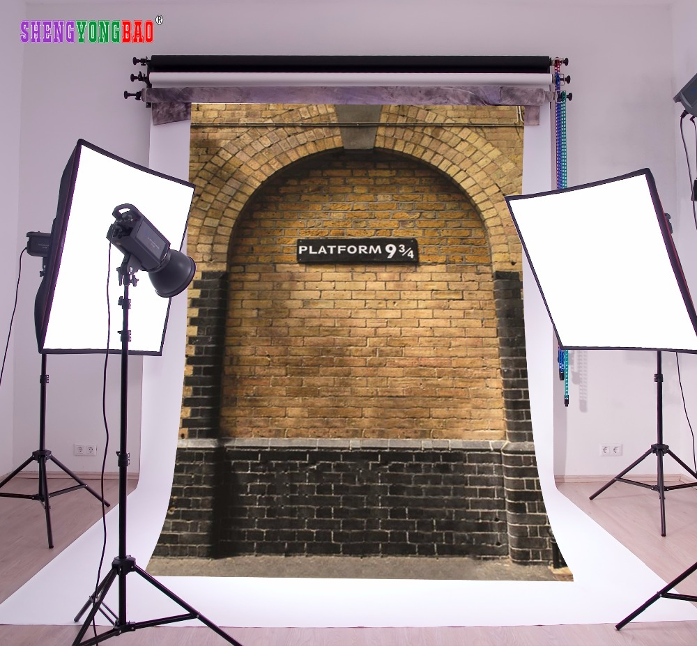 SHENGYONGBAO Art Cloth HarryPotter Heaven Photography Backdrops Prop Wall 9 3 4 Station Theme Photography Background SS 9051 in Background from Consumer Electronics