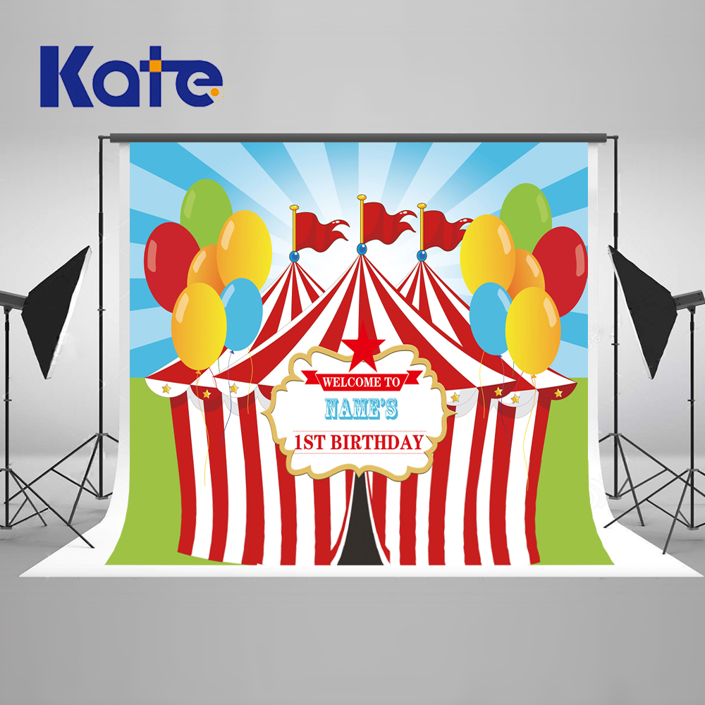 Kate 7x5ft Birthday Newborn Photography Backdrop Circus House Flag Balloons Background Photography Children Princess Backdrop kate newborn birthday photography