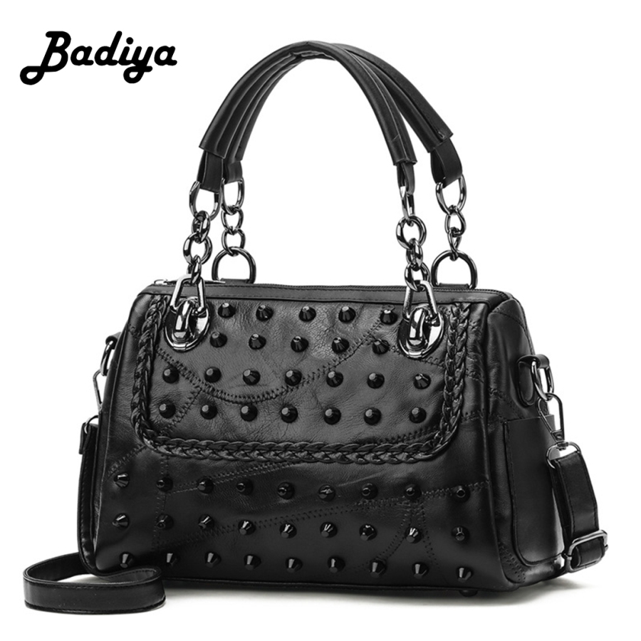 Women Rivets Chain Handbag Solid Black PU Leather Punk Style Shoulder Bag Gothic Bags punk style solid color hollow out body chain for women