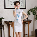 2016 Summer New Design Cheongsam Slim Retro Short Qipao Traditional Chinese Clothing  Flower Evening Dress
