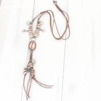 Dongmu jewellery барокко коровьей Вязание длинное ожерелье пляжные оболочки, делая чешские океан дамы ювелирных украшений подарок на день рождени...
