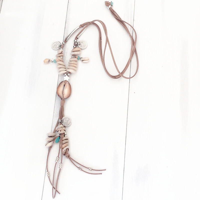 Dongmu jewellery baroque cowhide knitting long necklace beach shell making bohemian ocean ladies fine jewelry birthday gift