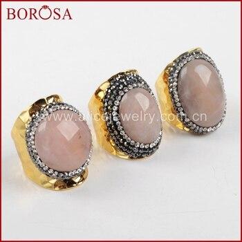BOROSA, nuevo anillo de cuarzo Druzy con Banda Dorada, Diamante de imitación de cristal, pavé de piedra de cuarzo rosa, anillo de puño, joyería Drusy, anillo de mujer para fiesta, JAB678