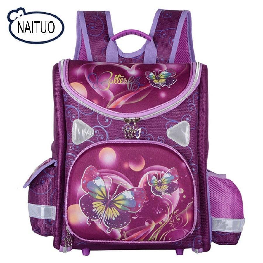 Russian Style Cartoon Butterfly Kids School Bags for Girls Waterproof Foldable Orthopedic School Backpacks For 1-5 Grade Studets russian phrase book