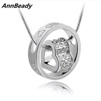 Unisex Heart Shape Austria Crystal Beads Pendant Necklace Fashion Design Jewelry Gift For Lover