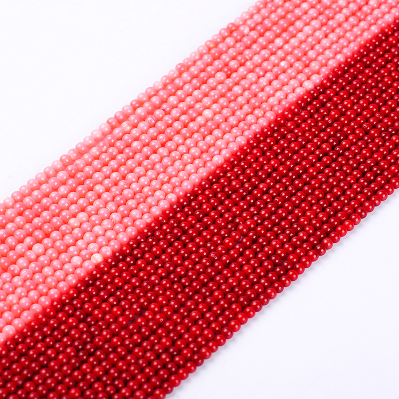 1pack/lot 3-3.5mm High quality Round Natural <font><b>Red</b></font> pink <font><b>Coral</b></font> beads loose spacer beads DIY for bracelet necklace jewelry making image