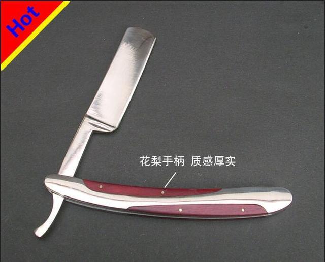 El punto de alta calidad de palo de rosa sólido de acero viejo pelo sin clásico cuchillo de hoja de afeitar maquinilla de afeitar manual