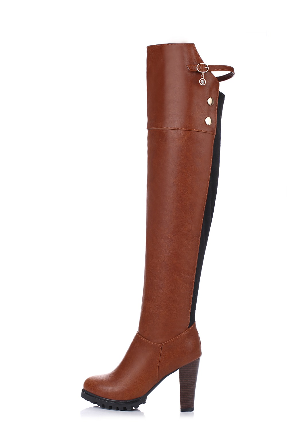 ФОТО New Design Women Over-Knee Boots Round Toe Spike Heels Winter Boots Elegant Brown Red Shoes Woman Plus Size 3.5-13