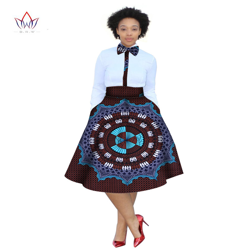 Vestido de verano 2020 Tallas grandes 2 piezas Camisa Dashiki con estampado africano Conjunto de falda Bazin Rche Femme África Ropa 5xl Natural WY773