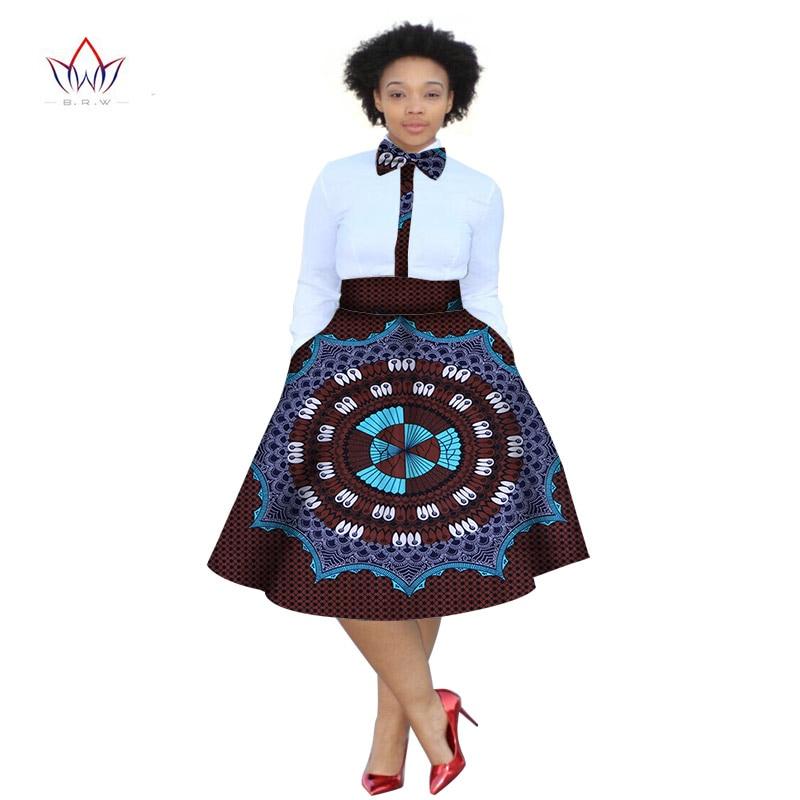 2020 Zomerjurk Plus Size 2 Stuks Afrikaanse Print Dashiki Shirt Rok Set Bazin Rche Femme Afrika Kleding 5xl Natuurlijke WY773