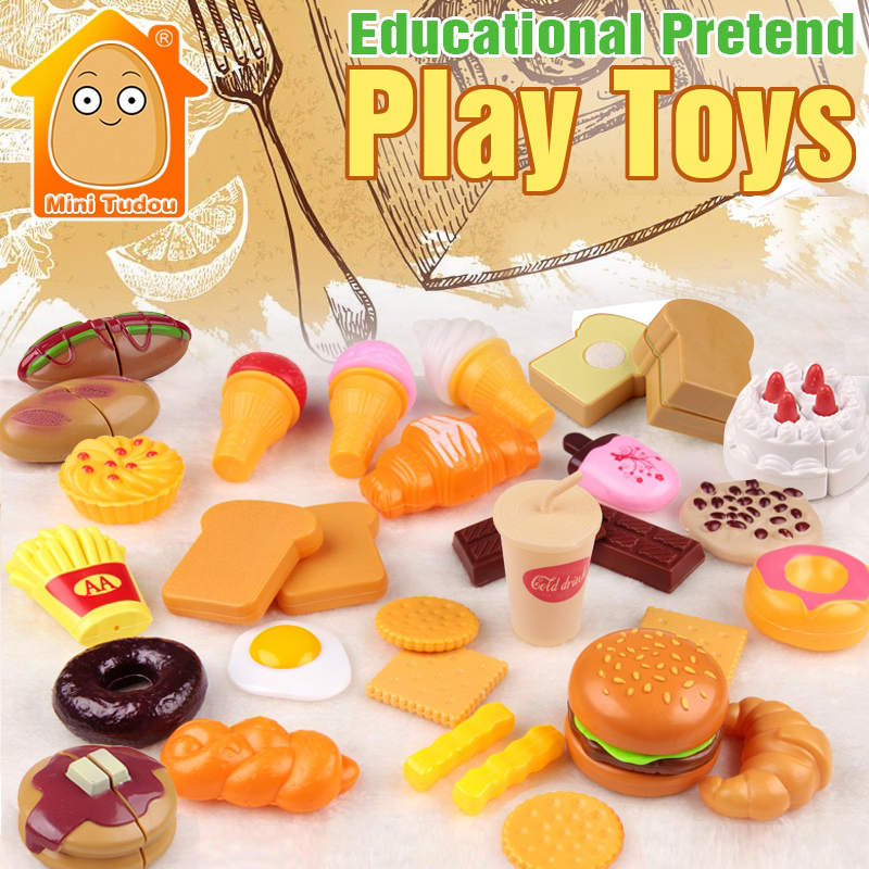 Minitudou Kids Plastic Food Toy Pretend Play Kitchen Set Parts Miniature Cake Hamburgers Cookies Children Educational Toys
