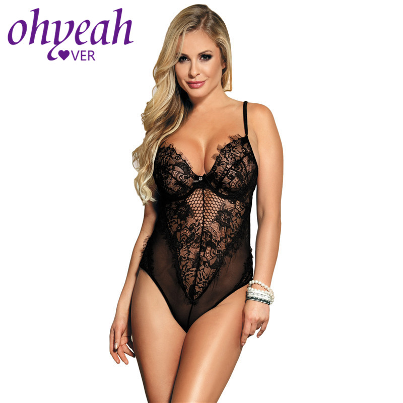 Ohyeahlover Plus Size Lace Bodysuit Teddy Backless Short Combinaison Sexy Sleeveless Women Body Top Skinny Body Suits RM80408