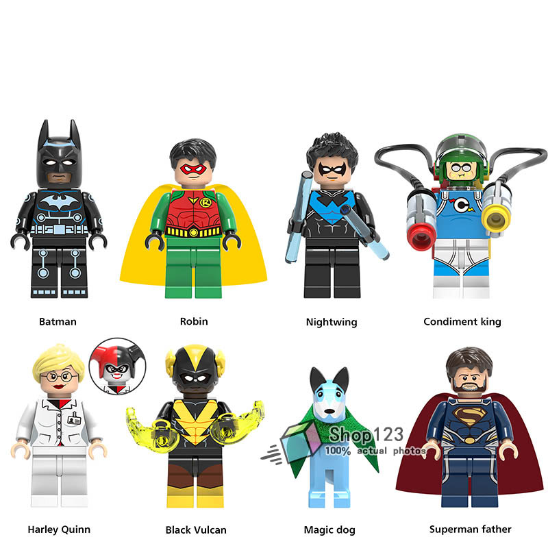 Blocks 8pcs/lot Super Heroes Batman Robin Nightwing Condiment King Harley Quinn Building Blocks Toys Gifts Model For Children X0198 Waterproof Shock-Resistant And Antimagnetic