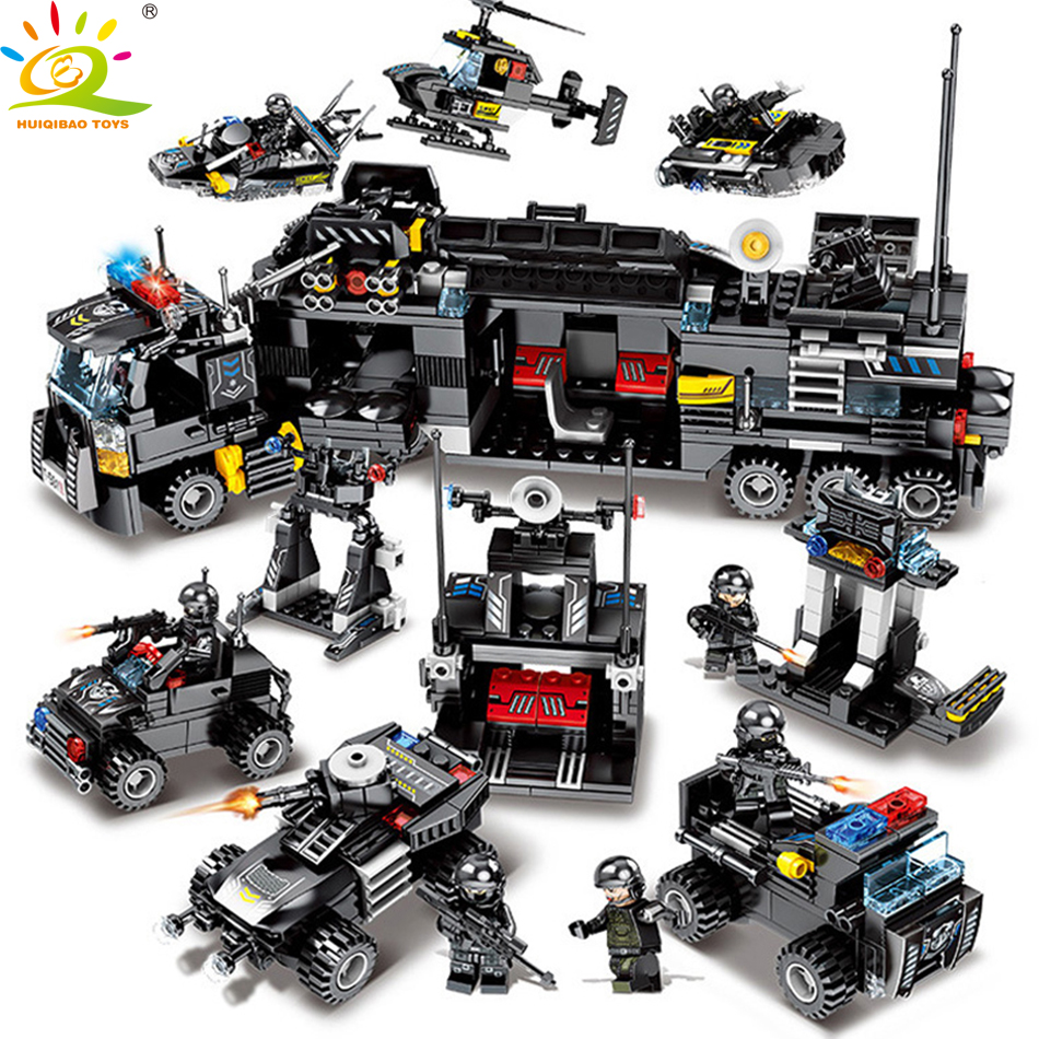 695 piezas 8in1 policía SWAT camiones bloques de construcción Compatible legoed ciudad helicóptero barco ladrillos policía figuras juguetes para niños