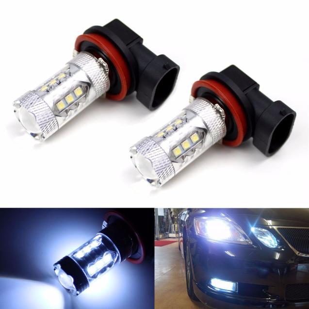 kongyide Healight Bulbs 2X H11 80W LED Fog Tail Driving Car Head Light Lamp Bulb Super White 6000K NOV10