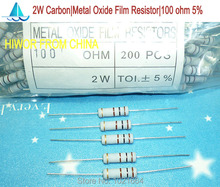 (200pcs/lot)(Carbon|Metal Oxide Film Resistors|2W) 2W Watt 5% Carbon Metal Oxide Film Resistor 100 ohm(China)