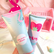 Creativity Stereoscopic Toothpaste Pencil-case PU Flamingo Strawberry School Supplies Korean Stationery Gift for Girl BD022D strawberry overlay pencil case