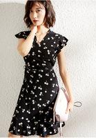 Черное миди шелковое платье с вишневым принтом v образный вырез деформационные платья со шнуровкой лето za sukienka Высококачественная Роскошна