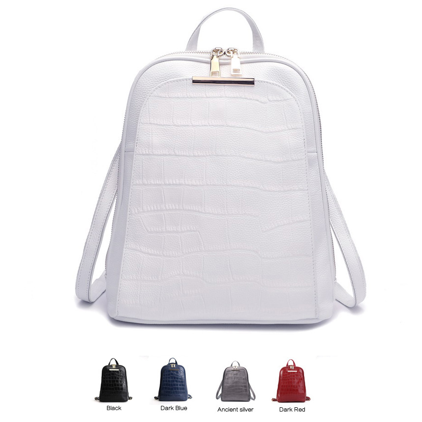 ZENCY Popular Natural 100% Real Genuine Cow Leather Everyday White Silver Women Backpack Ladies Girls Top Layer Cowhide Book Bag