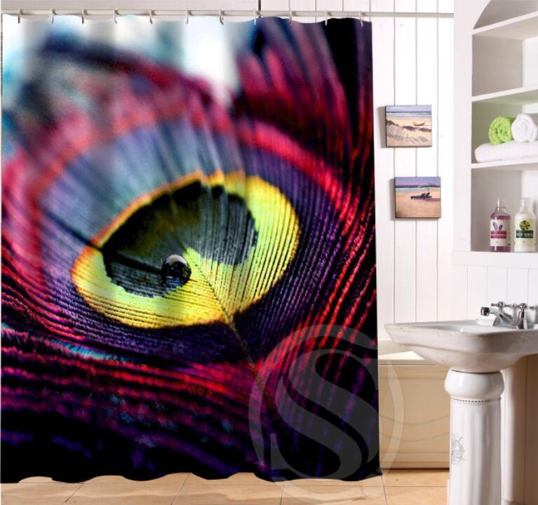 Free Shipping Custom Colorfulful peacock Waterproof Fabric Bathroom Shower Curtain home Decor